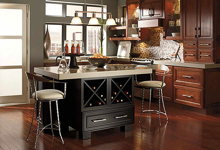 Wine rack wall cabinets are a great cabinet accessory.