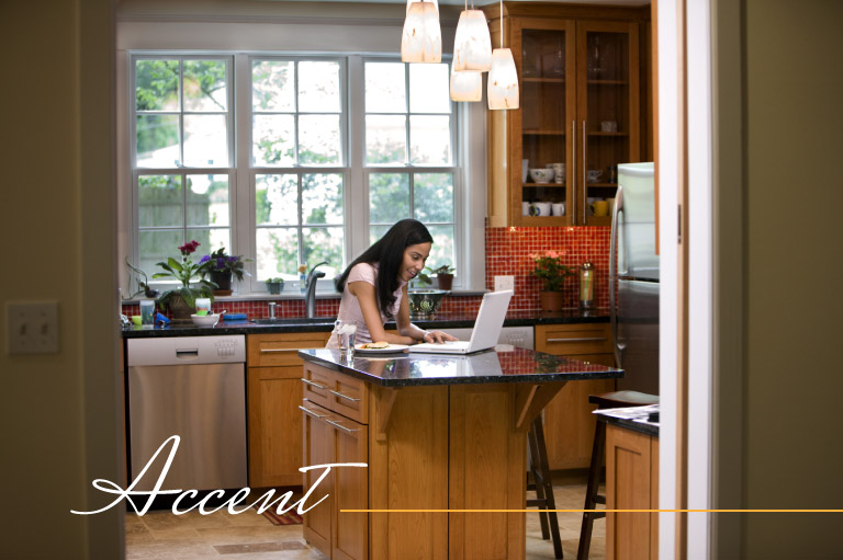 Accent lighting adds style and focus to your kitchen remodeling project.