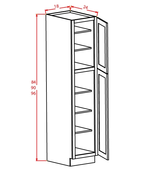 U189024 Wall Pantry Cabinet 18 inch by 90 inch by 24 inch Shaker White