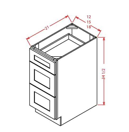 3VDB12 3 Drawer Vanity Base Cabinet 12 inch Shaker Espresso