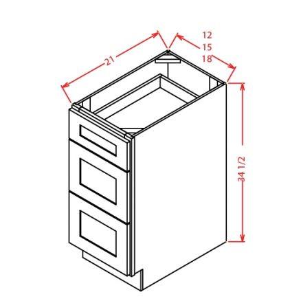 3VDB15 3 Drawer Vanity Base Cabinet 15 inch Shaker White