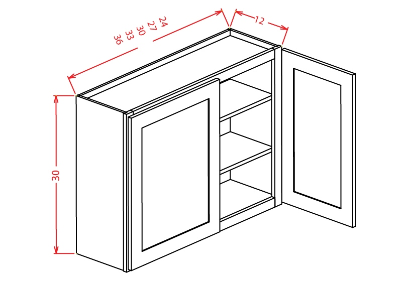 W3330 Wall Cabinet 33 inch by 30 inch Shaker Espresso