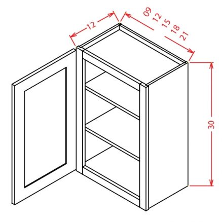 W2130 Wall Cabinet 21 inch by 30 inch Shaker Espresso