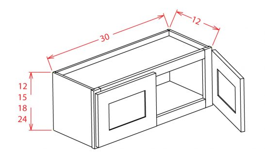 W3015 Bridge Cabinet 30 inch by 15 inch Shaker White