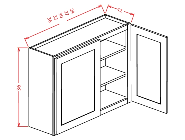 W2436 Wall Cabinet 24 inch by 36 inch Shaker Espresso