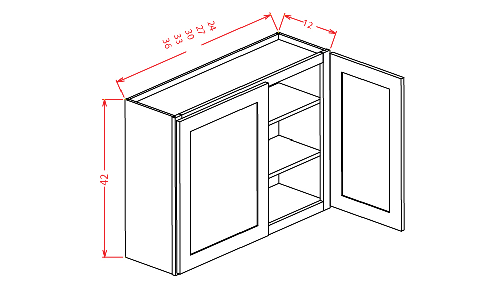 W3342 Wall Cabinet 33 inch by 42 inch Shaker Espresso