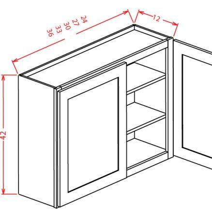 W3342 Wall Cabinet 33 inch by 42 inch Shaker Sandstone