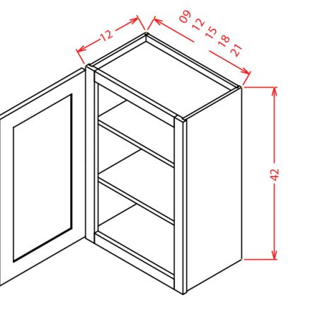 W1242 Wall Cabinet 12 inch by 42 inch Shaker Espresso