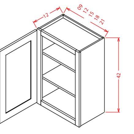 W1542 Wall Cabinet 15 inch by 42 inch Shaker Espresso