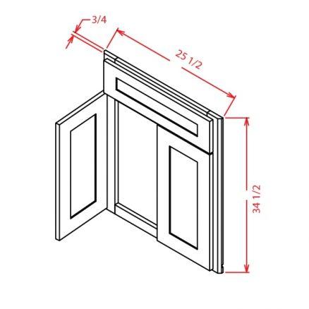 DCSF42 Diagonal Corner Sink Base Front Shaker Espresso