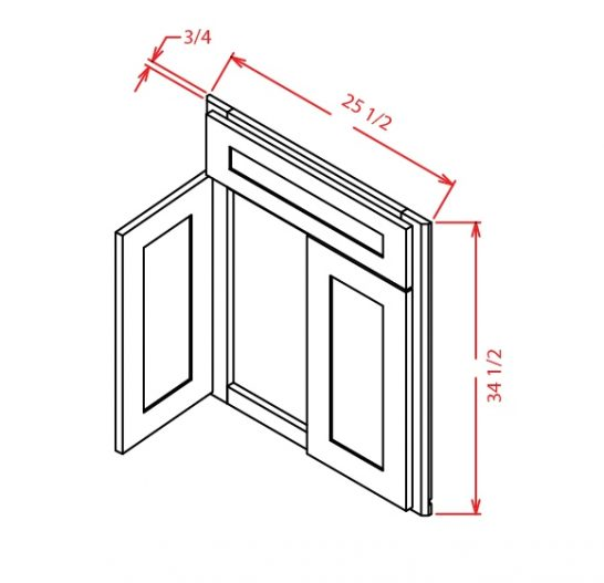DCSF42 Diagonal Corner Sink Base Front Shaker White