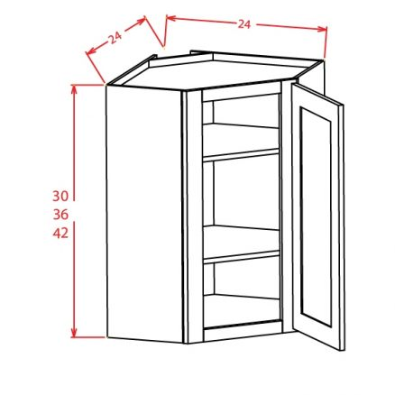 DCW2442GD Diagonal Corner Wall Cabinet with Open Door Frame 24 inch by 42 inch Shaker White