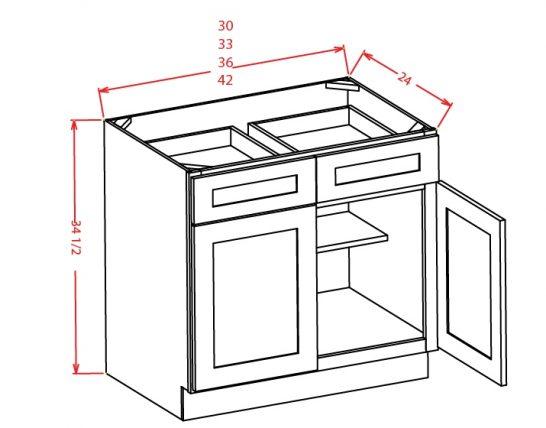 B33 Base Cabinet 33 inch Shaker White