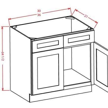VS36 Vanity Sink Base Cabinet 36 inch Yorkshire Antique White