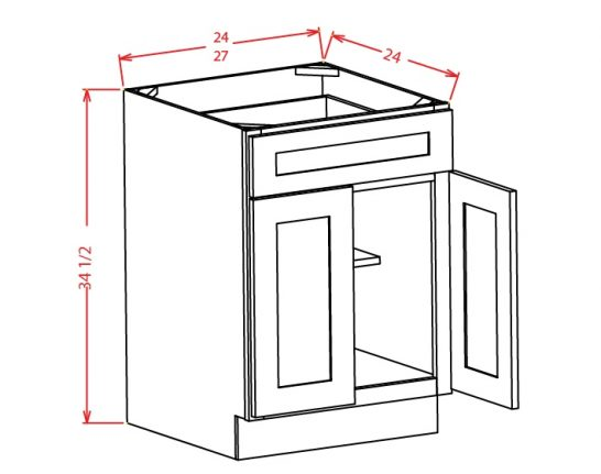 B24 Base Cabinet 24 inch Shaker White