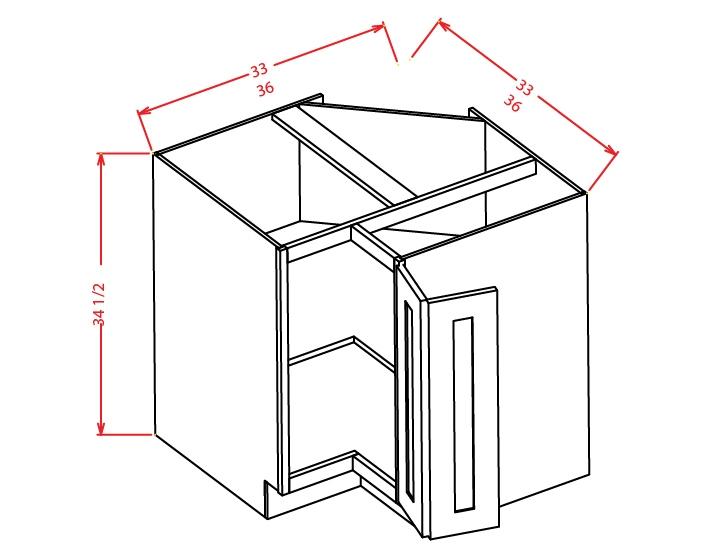 BER33 Base Easy Reach Cabinet 33 inch Shaker Sandstone