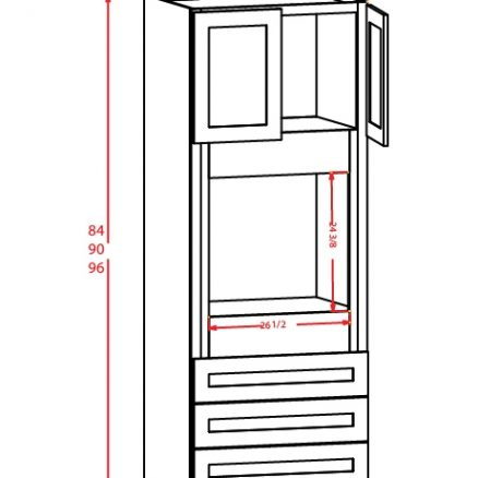 O339624 Universal Oven Cabinet 33 inch by 96 inch by 24 inch Shaker White