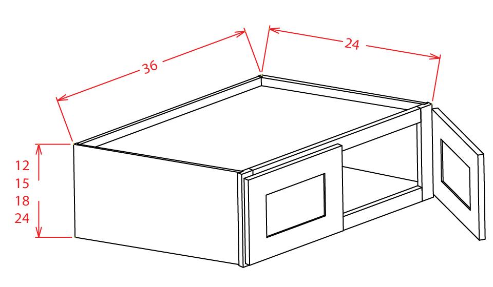 W361224 Bridge Cabinet 36 inch by 12 inch by 24 inch Shaker Espresso