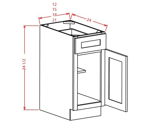 B12 Base Cabinet 12 inch Shaker White