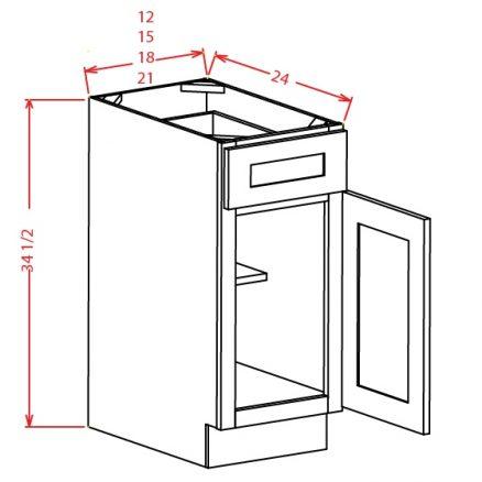 B15 Base Cabinet 15 inch Shaker White
