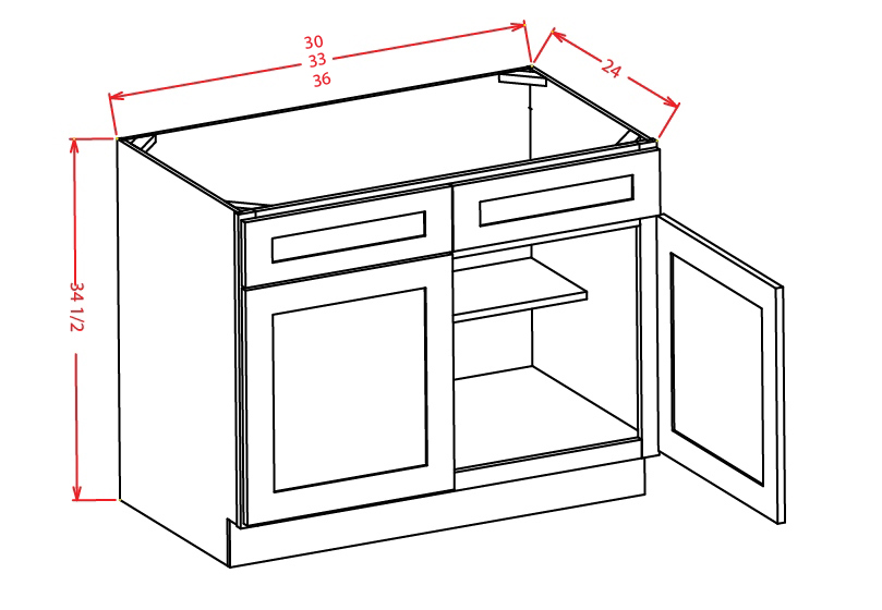 SB33 Sink Base Cabinet 33 inch Shaker White