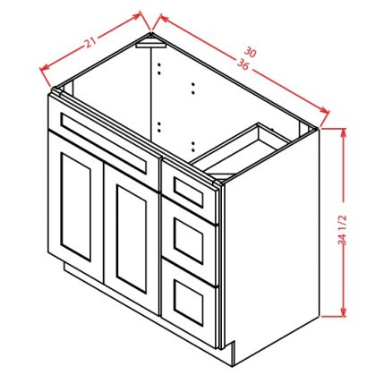 V3621DR Vanity Base Cabinet 30 inch Right Drawers Yorkshire Chocolate