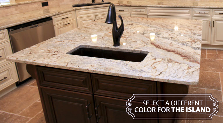 Mix it up with two tone cabinets by adding island cabinets of a different color.