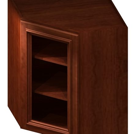 DCW2436GD Diagonal Corner Wall Cabinet with Open Door Frame 24 inch by 36 inch Cambridge Sable