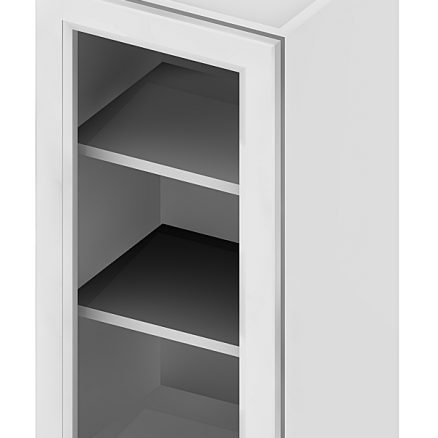 W1542GD Wall Cabinet with Open Door Frame 15 inch by 42 inch Shaker White