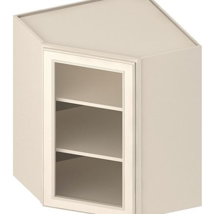 DCW2442GD Diagonal Corner Wall Cabinet with Open Door Frame 24 inch by 42 inch Yorkshire Antique White