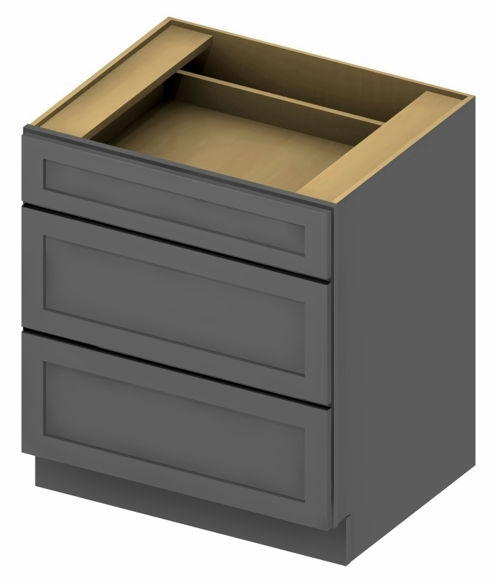 3DB24 3 Drawer Base Cabinet 24 inch Shaker Gray 1 - CabinetCorp