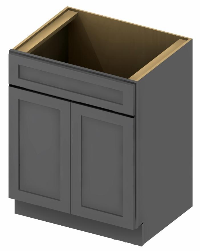 VS27 Vanity Sink Base Cabinet 27 Inch Shaker Gray 1
