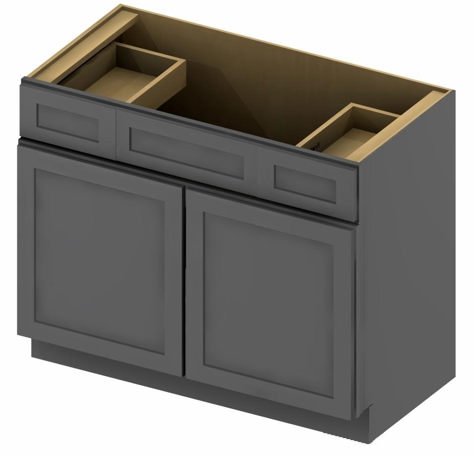 Vsd48 vanity sink drawer base cabinet 48 inch shaker gray for 48 inch bathroom vanity base