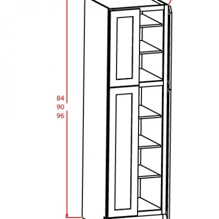 U249624 Wall Pantry Cabinet 24 inch by 96 inch by 24 inch Shaker Gray