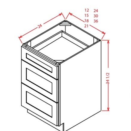 3DB24 3 Drawer Base Cabinet 24 inch Shaker Gray
