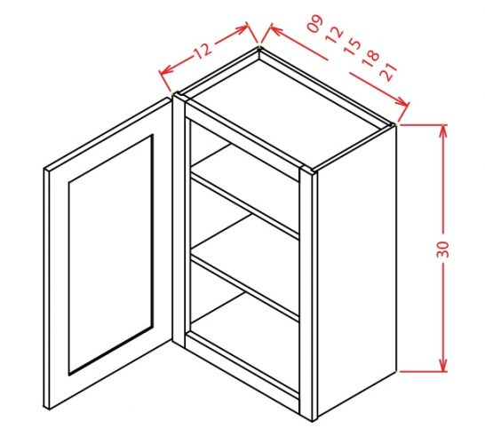 W0930 Wall Cabinet 9 inch by 30 inch Shaker Gray
