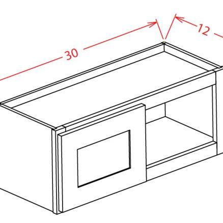 W3012 Bridge Cabinet 30 inch by 12 inch Shaker Gray