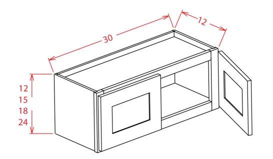 W3024 Bridge Cabinet 30 inch by 24 inch Shaker Gray