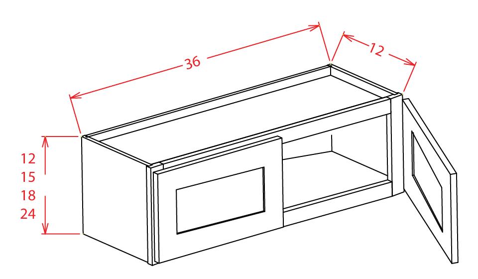 W3612 Bridge Cabinet 36 inch by 12 inch Shaker Gray