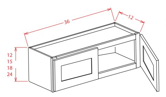W3615 Bridge Cabinet 36 inch by 15 inch Shaker Gray