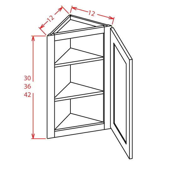AW1242 Angle Wall Cabinet 42 inch Shaker Gray