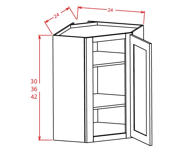 DCW2430GD Diagonal Corner Wall Cabinet with Open Door Frame 24 inch by 30 inch Shaker Gray