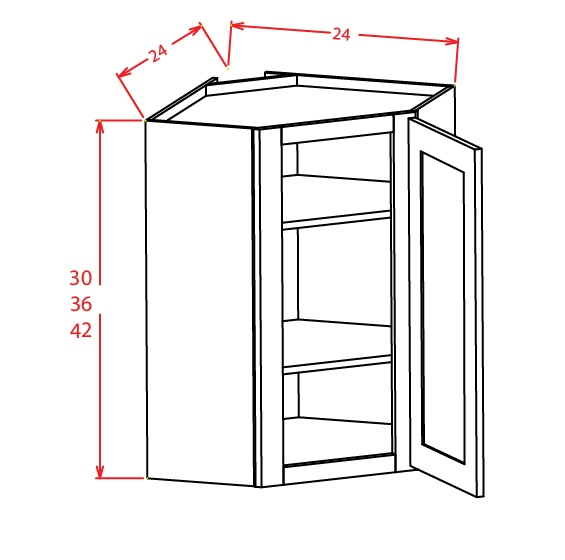DCW2442 Diagonal Corner Wall Cabinet 24 inch by 42 inch Shaker Gray