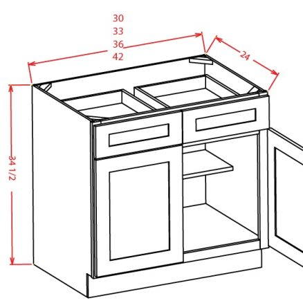 B33 Base Cabinet 33 inch Shaker Gray