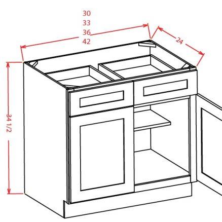 B36 Base Cabinet 36 inch Shaker Gray