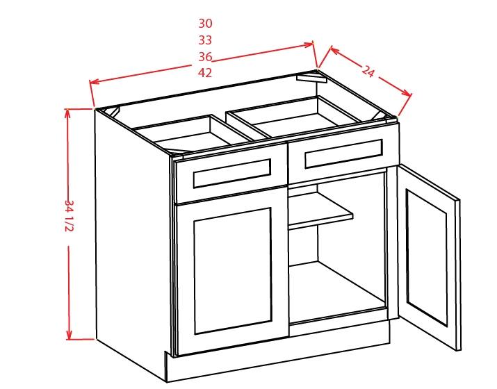B42 Base Cabinet 42 inch Shaker Gray