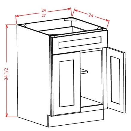 B24 Base Cabinet 24 inch Shaker Gray