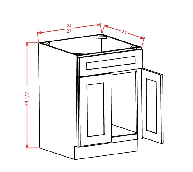 VS27 Vanity Sink Base Cabinet 27 inch Shaker Gray