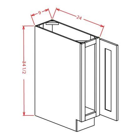 BT9 Base Cabinet 9 inch Shaker Gray