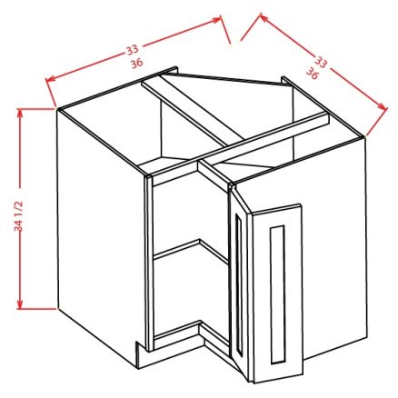 BER33 Base Easy Reach Cabinet 33 inch Shaker Gray